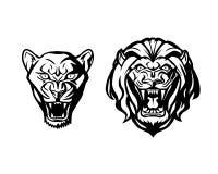 Голова льва и львицы Логотип шаблона Творческая иллюстрация Стоковое Изображение