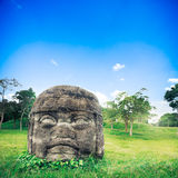 Голова Olmec колоссальная в городе Ла Venta, Табаско Стоковые Фотографии RF