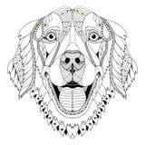 Голова zentangle собаки золотого retriever стилизованная, freehand карандаш, h иллюстрация штока