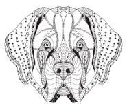 Голова zentangle собаки St Bernard стилизованная, freehand карандаш, рука иллюстрация штока