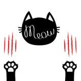 головка черного кота Текст контура литерности Meow Нога ноги печати 2 лапок Кровопролитные когти царапая животный милый персонаж  иллюстрация вектора