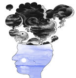 Головной профиль с воздушными шарами плохих мыслей Стоковое Изображение RF