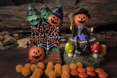Головной jack в костюме ведьмы сидя на дереве Стоковая Фотография