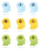 Головные профили с символами идеи  иллюстрация вектора