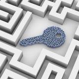 головоломка лабиринта формы ключа 3d в лабиринте Стоковое Фото