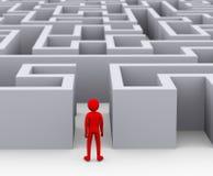 головоломка лабиринта человека 3d входя в Стоковое Изображение RF
