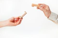 Головоломка игрушки деревянная в руках solated на белой предпосылке стоковое фото rf