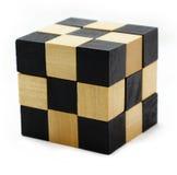 Головоломка куба в форме деревянных блоков Стоковое Фото
