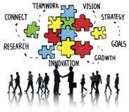 Головоломка поддержки партнерства стратегии соединения команды сыгранности Стоковые Изображения