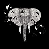 Головоломка слона вектора Стилизованный слона дизайн низко поли Животная иллюстрация для пользы как печать на футболке, татуировк Стоковое Изображение RF