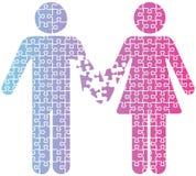 Головоломка людей разъединения влюбленности пар Стоковое Фото