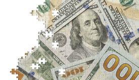 100 головоломок денег доллара Стоковая Фотография RF