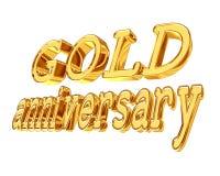 Годовщина текста золота золотая на белой предпосылке Стоковые Фотографии RF