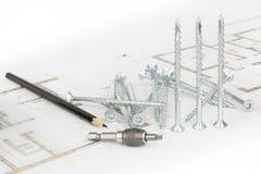 Головы бита отвертки torx, винты, карандаш и arhtectural эскиз Стоковые Изображения