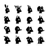 Головы животных глифа Стоковые Изображения RF