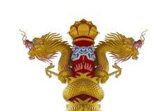 2 головы золотой статуи дракона Стоковое Фото