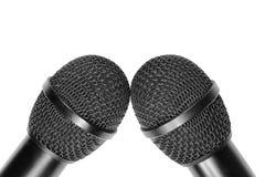 2 головы микрофона на белой предпосылке Стоковая Фотография RF