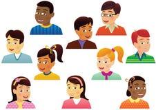Головы сортированных детей Стоковые Фото