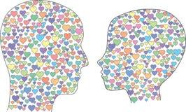 Головы с сердцами Стоковое Изображение RF