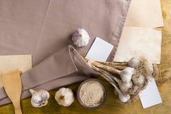 Головы чеснока и порошка чеснока Стоковая Фотография