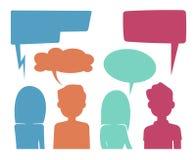 Головы людей с пузырями речи Концепция вектора обратной связи и обсуждения форума иллюстрация вектора