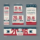 Голосуя дизайн вектора знамен установленный Президентские выборы США в 2016 Проголосуйте знамена 2016 США для вебсайта или социал Стоковое Фото