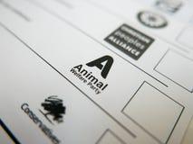 Голосуя форма с логотипом партии защиты животных Стоковое Изображение RF
