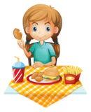 Голодная еда маленькой девочки иллюстрация штока