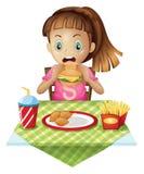 Голодная еда ребенка иллюстрация вектора