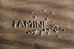 Голод слова сделанный из риса стоковые изображения