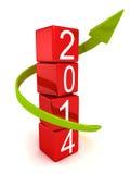 Год 2014 преграждает рост башни и стрелки вверх Стоковые Изображения RF