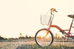 Год сбора винограда велосипеда на поле травы Стоковые Фото
