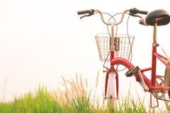 Год сбора винограда велосипеда на поле травы Стоковое Фото