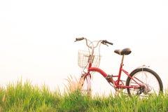 Год сбора винограда велосипеда на поле травы Стоковое Изображение RF