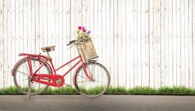 Год сбора винограда велосипеда с цветком букета Стоковые Изображения