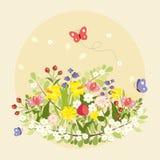 Год сбора винограда искусства цветков бабочек весны красочный Стоковые Изображения RF