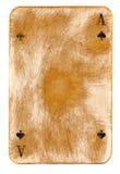 Год сбора винограда использовал предпосылку играя карточки бумажную с знаками туза Стоковая Фотография