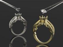 Год сбора винограда кольца 3d золотые и серебряные Стоковые Изображения RF