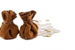 Год сбора винограда кладет деньги в мешки Стоковые Фото