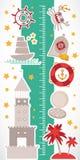 Год сбора винограда морской морские животные, шлюпки, маяк милое собрание объектов Вектор стикера стены метра высоты детей иллюстрация вектора