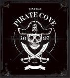 Год сбора винограда пиратствует предпосылку рамки черепа Стоковое фото RF