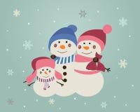 Год сбора винограда семьи снеговиков Crhristmas иллюстрация штока