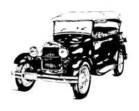 Год сбора винограда старого классического автомобиля ретро иллюстрация штока