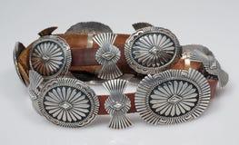 Год сбора винограда, стерлинговый серебр, пояс Concho коренного американца. Стоковое фото RF