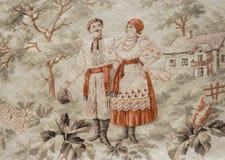 Год сбора винограда украсил холст Стоковое фото RF