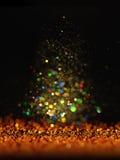 Год сбора винограда яркого блеска освещает предпосылку темное золото и чернота небо klaus santa заморозка рождества карточки мешк Стоковое фото RF