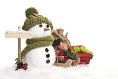 год снежка человека новый s рождества карточки предпосылки Стоковые Изображения