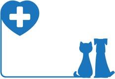 Икона с собакой, котом и сердцем Стоковые Фото