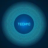 Голубая абстрактная предпосылка - круги накаляя пикселов, концентрические круги Стоковое фото RF