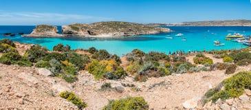 Голубая лагуна в острове Comino, Мальты Стоковое Изображение